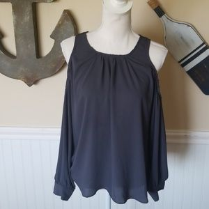 Gray cold shoulder top w/ peak a boo back